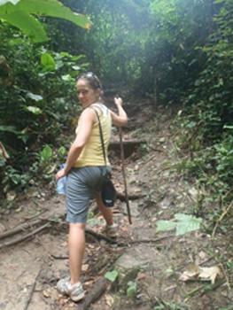 hiking Wli Falls in Ghana.