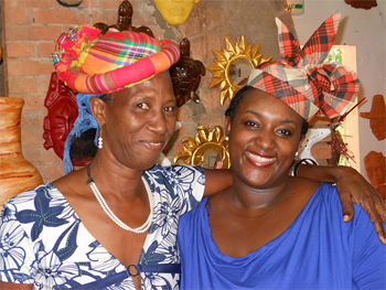 How many tips on the tops of these headdresses signifiies marital status in Martinique. photos by Cathie Arquilla.
