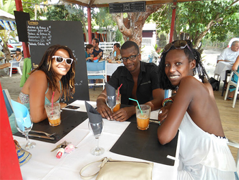Hipsters dining at Le Petibonum, Martinique.