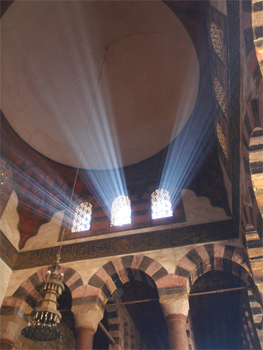 Light filtering through the windows of a mosque in Cairo. photos by Lucy Mercer-Mapstone.