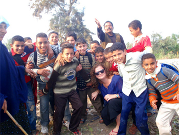 Local kids in rural Egypt with the author.