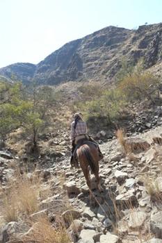 Rocky descent into the Namib desert.