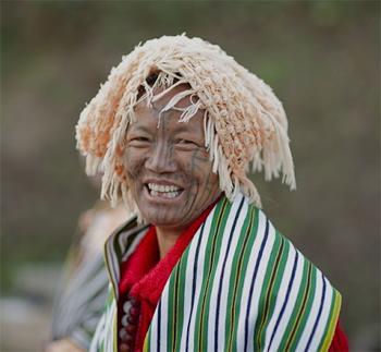Tattooed Chin woman in Burma.
