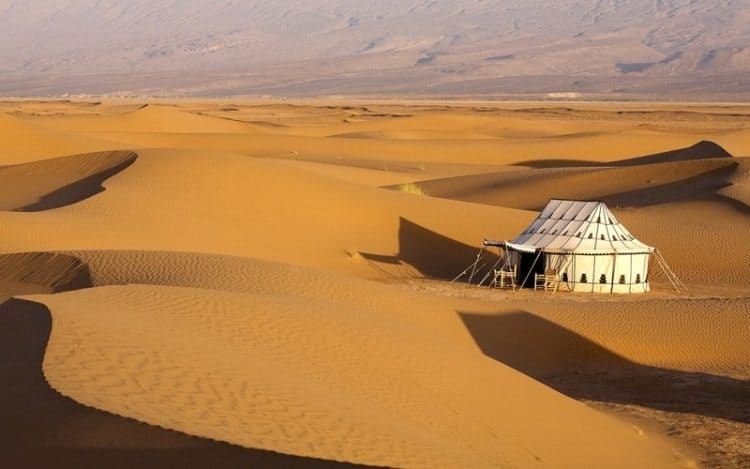 A sparse camp in Morocco's Sahara desert.