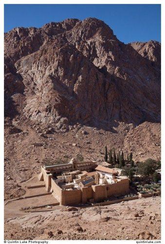 Saint Catherine's Monastery in the shadow of Mount Sinai.  Quintin Lake photo.