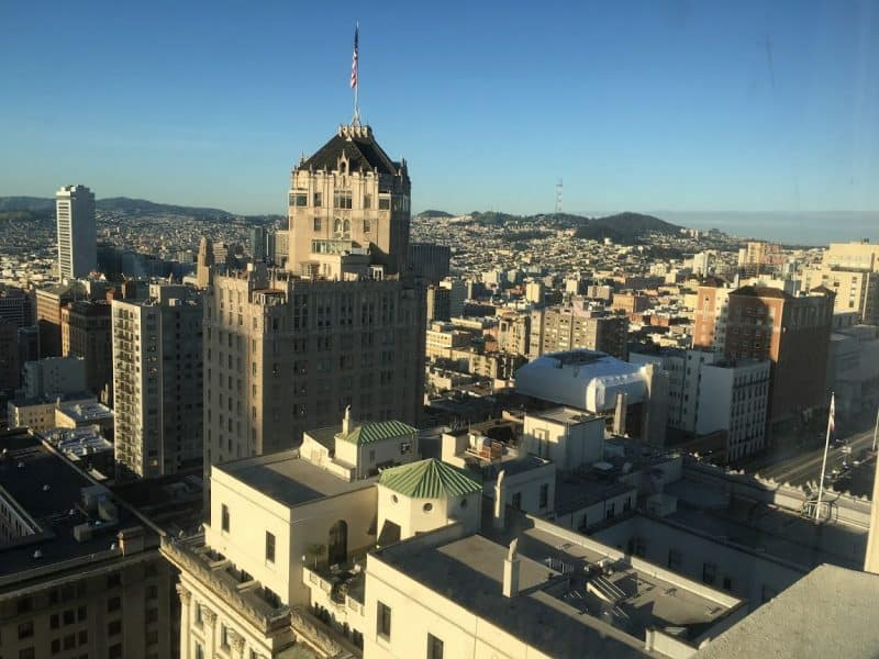 San Francisco as seen from the iconic Fairmont Hotel downtown. Max Hartshorne photo.