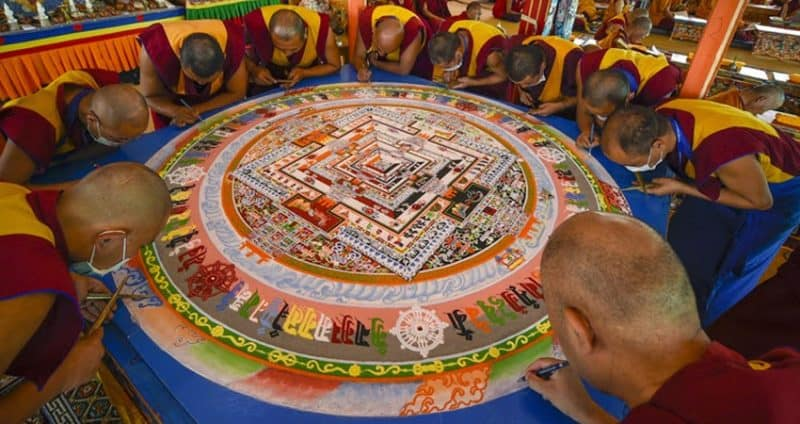 Mandala Making during the sacred Kalachakra Initiation.