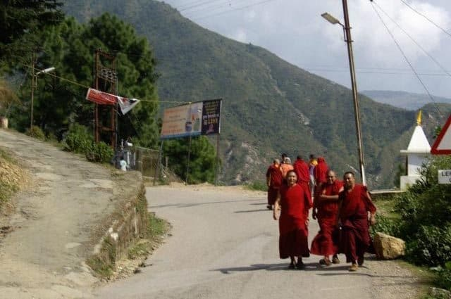 Monks outnumber cars on the roads in McLeod Ganj.