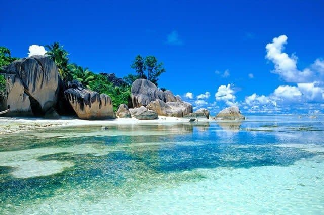 Le Digue Island is a highlight of the Seychelles, off the east coast of Africa.