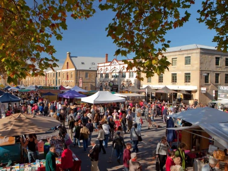 Salamanca Market is a highlight of Hobart, Tasmania.