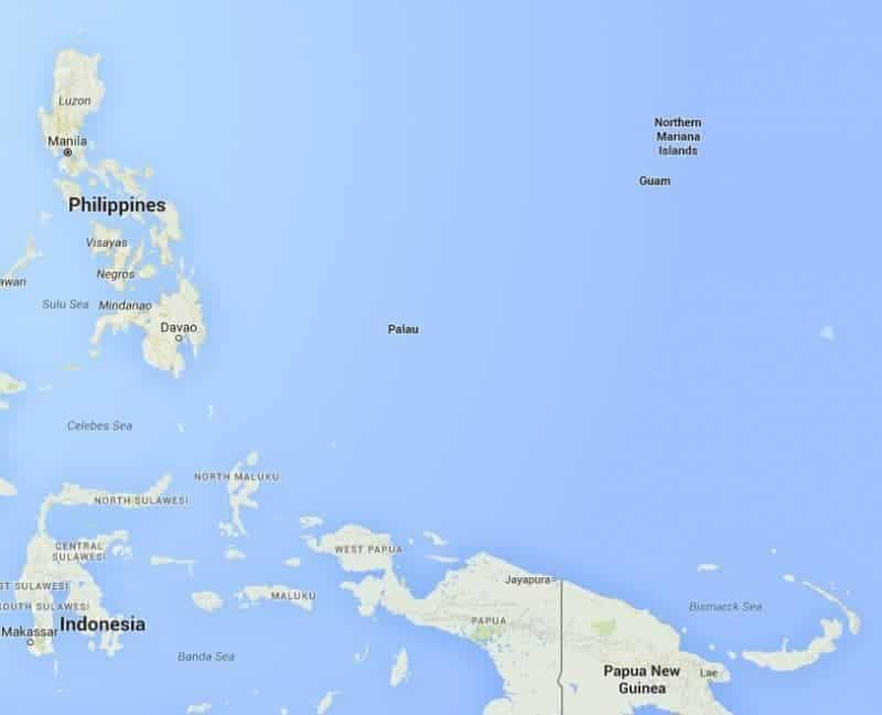 Palau is far from any other islands, but a little bit near the Philippines.