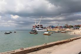 View of a fairy docked at Zanzibar Old Town's Ferry Terminal.