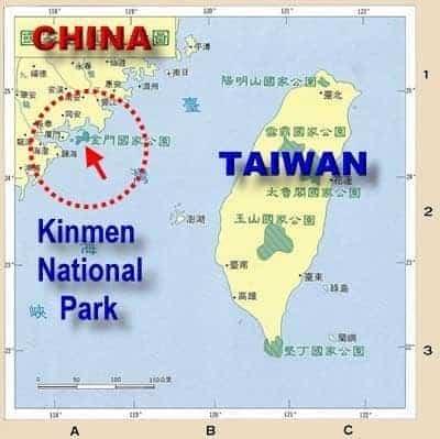 Map of Kinmen Island.
