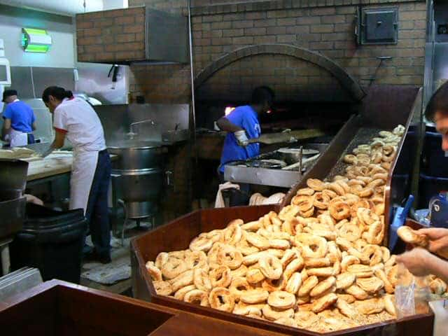 Montreal is famous for bagels. Here the production line at the busy St Viateur Bagel and Cafe downtown.