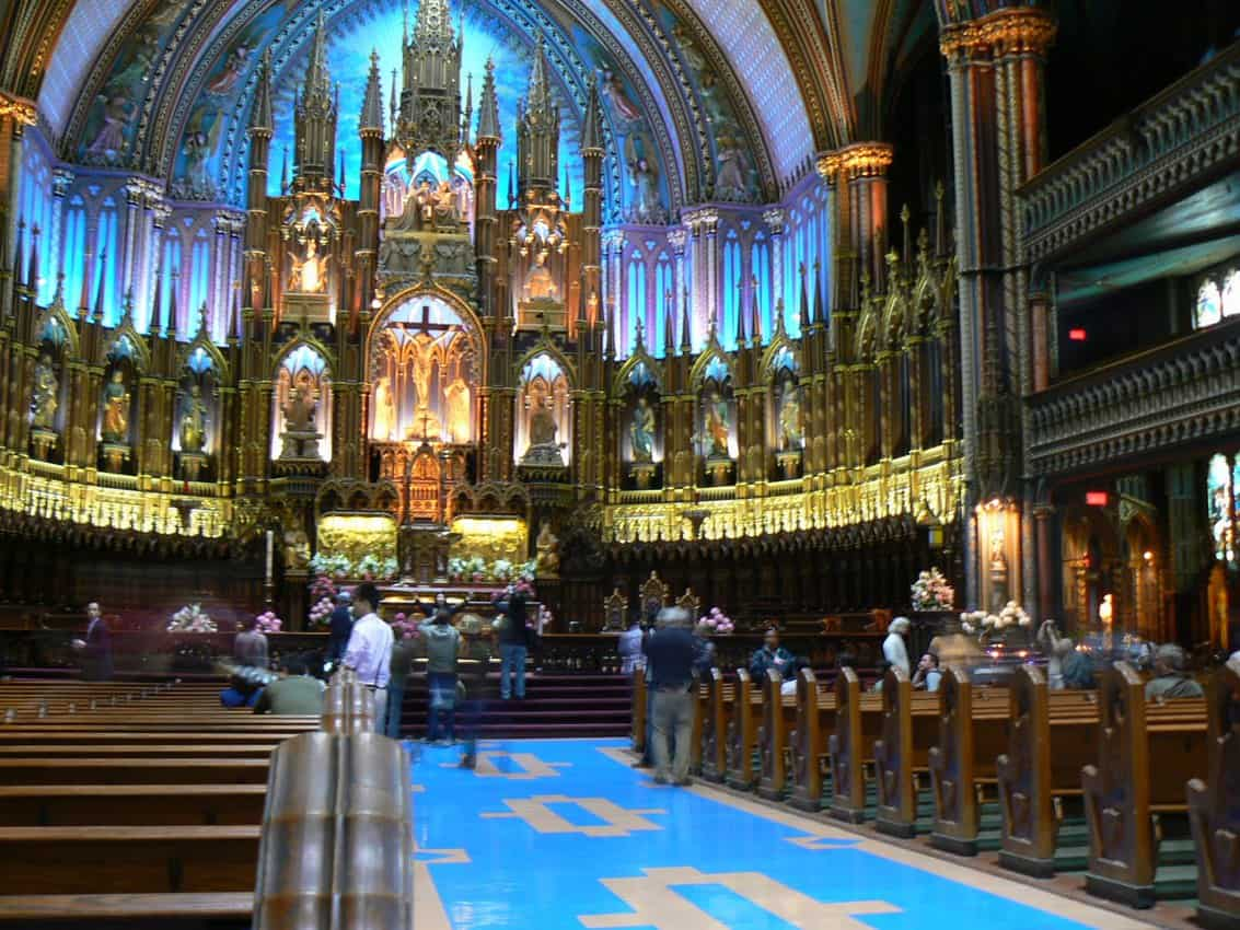 Notre Dame Cathedral in Old Montreal is a beautiful place to visit downtown.