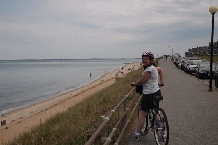 A bike path connects Oak Bluffs and Edgartown, two of the three main towns in Martha's Vineyard, right along the water.