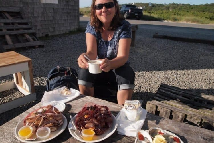 Enjoying an al fresco seafood dinner at Ducher Dock, Menemsha, Martha's Vineyard.