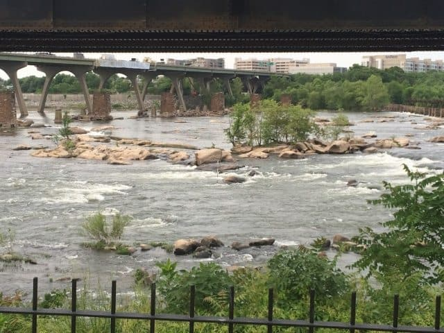The James River rapids, which flow through downtown Richmond, Virginia. Max Hartshorne photos.