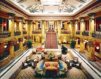 The impressive lobby of the Jefferson Hotel in Richmond VA.