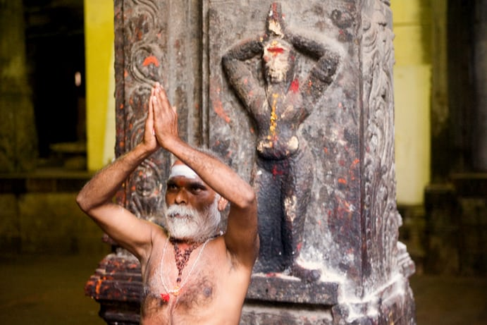 An Indian  Sadhu performing a ritual in India. Claude Renault photo.