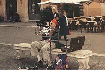 Street musician in Budapest. Kent E. St. John photo.