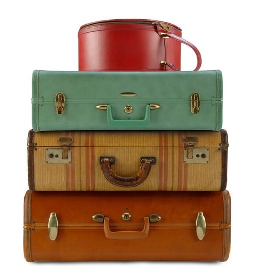 Old fashioned suitcases from the 1940s.