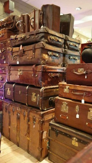Inspiring for the collector, imagining what these old fashioned suitcases will look like restored.