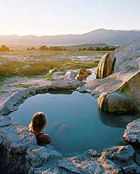 Travertine hot springs in California. John Lander photo hot springs California