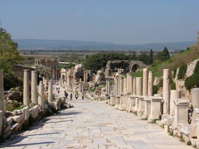 Walking amid the ruins in well preserved Ephesus, Turkey.