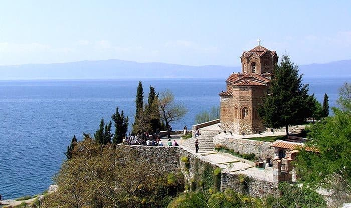 Church of St. John at Kaneo with a view of the Ohrid Lake, the most popular destination for tourists in Macedonia