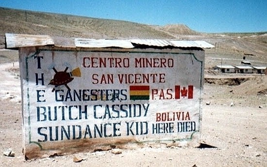 The sign commemorating the most famous people ever seen in San Vincente, Bolivia. Wyoming Tales and Trails photo.
