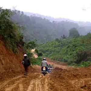 Riding the Ho Chi Minh trail in North Vietnam.