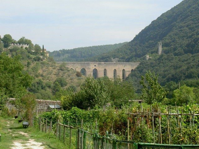 A distant ancient aqueduct, seen from near our rented house in Le Marche.