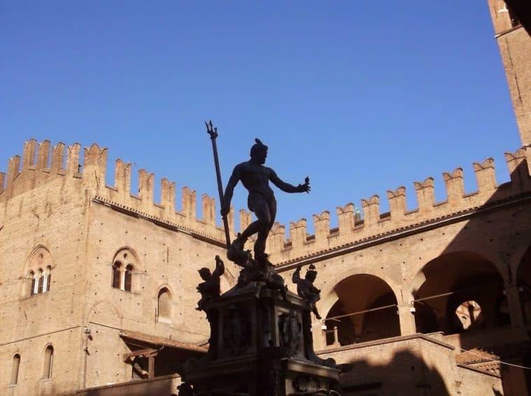 Neptune's statue in the center of Bologna, Italy. Max Hartshorne photo.