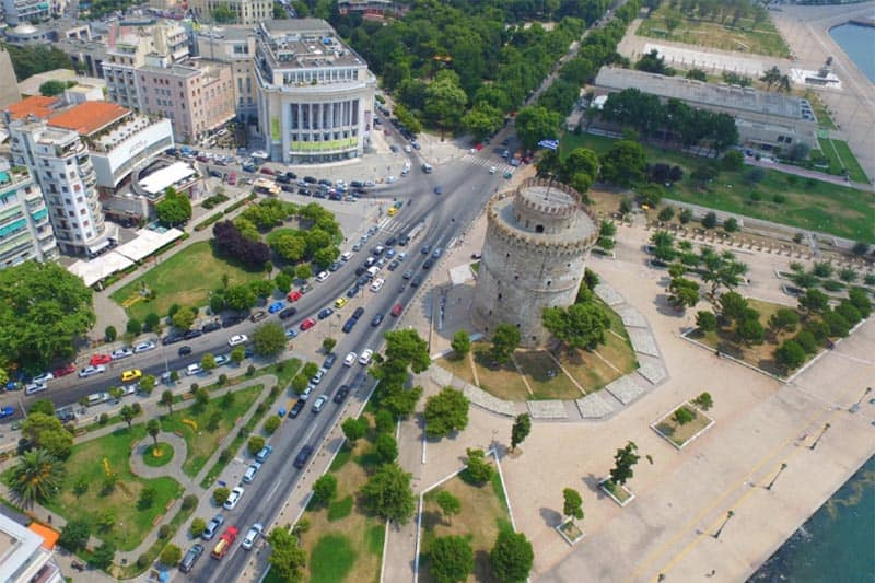The famed White Tower of Thessaloniki, from the air. Kfir Fatchi photo.
