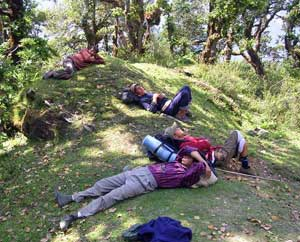 Tired hikers at India's Kuair Pass. photo by Mridula Dwivedi.