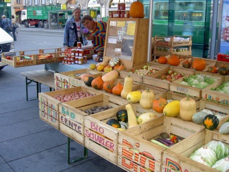 The farmers market in Graz is open at 7 am every day.
