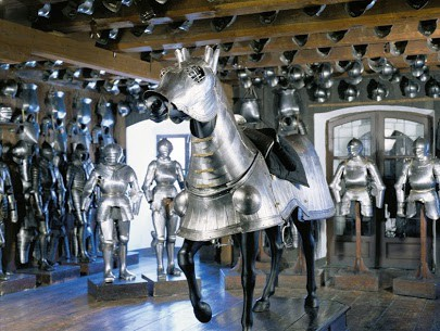 The armaments museum in Graz, Austria features armored horses and thousands of other weapons from the olden days.