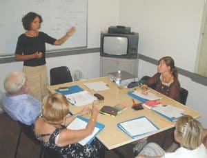 Learning Italian at the Koine Center in Florence, Italy.