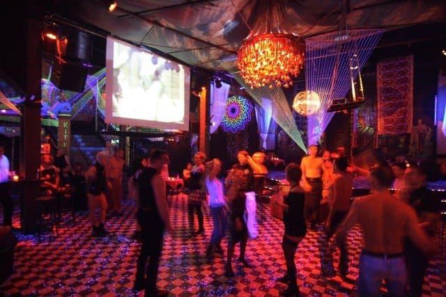 On the dance floor.