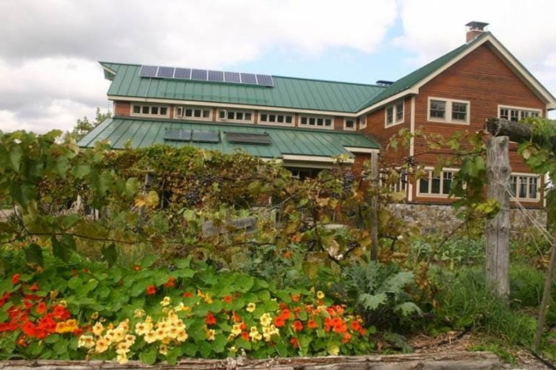 The big solar powered barn at D Acres, where you can enjoy organic food and the beautiful New Hampshire countryside.