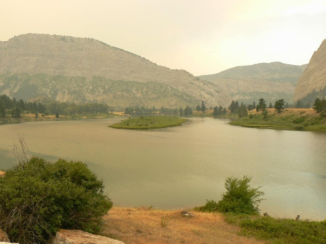 Smoky environs of Augusta Montana during a fire-plagued summer season.