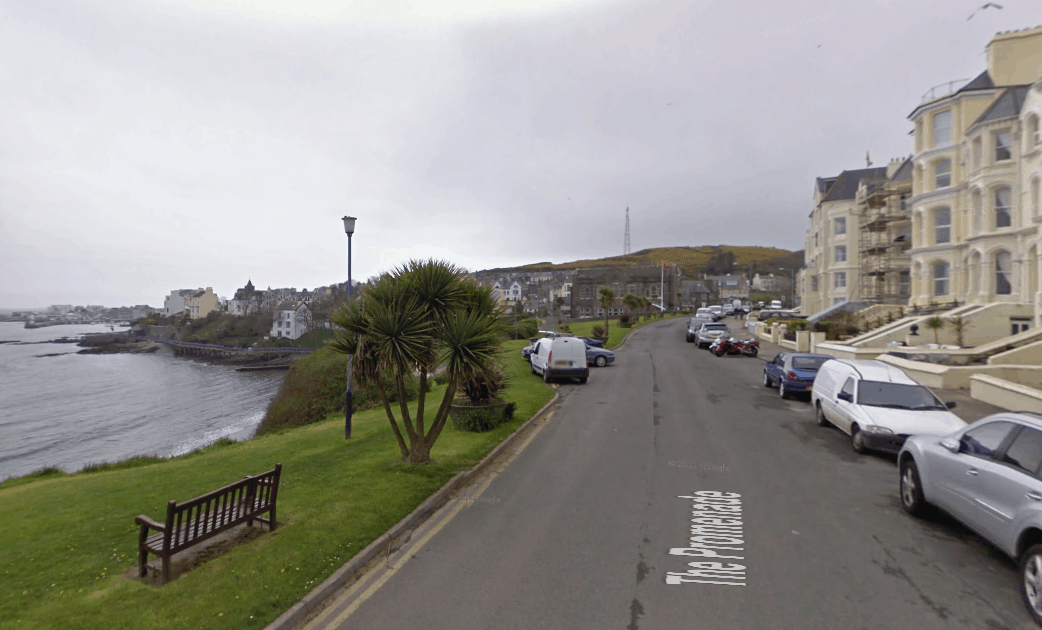The Promenade on the Isle of Man, where the Aaron House is located.