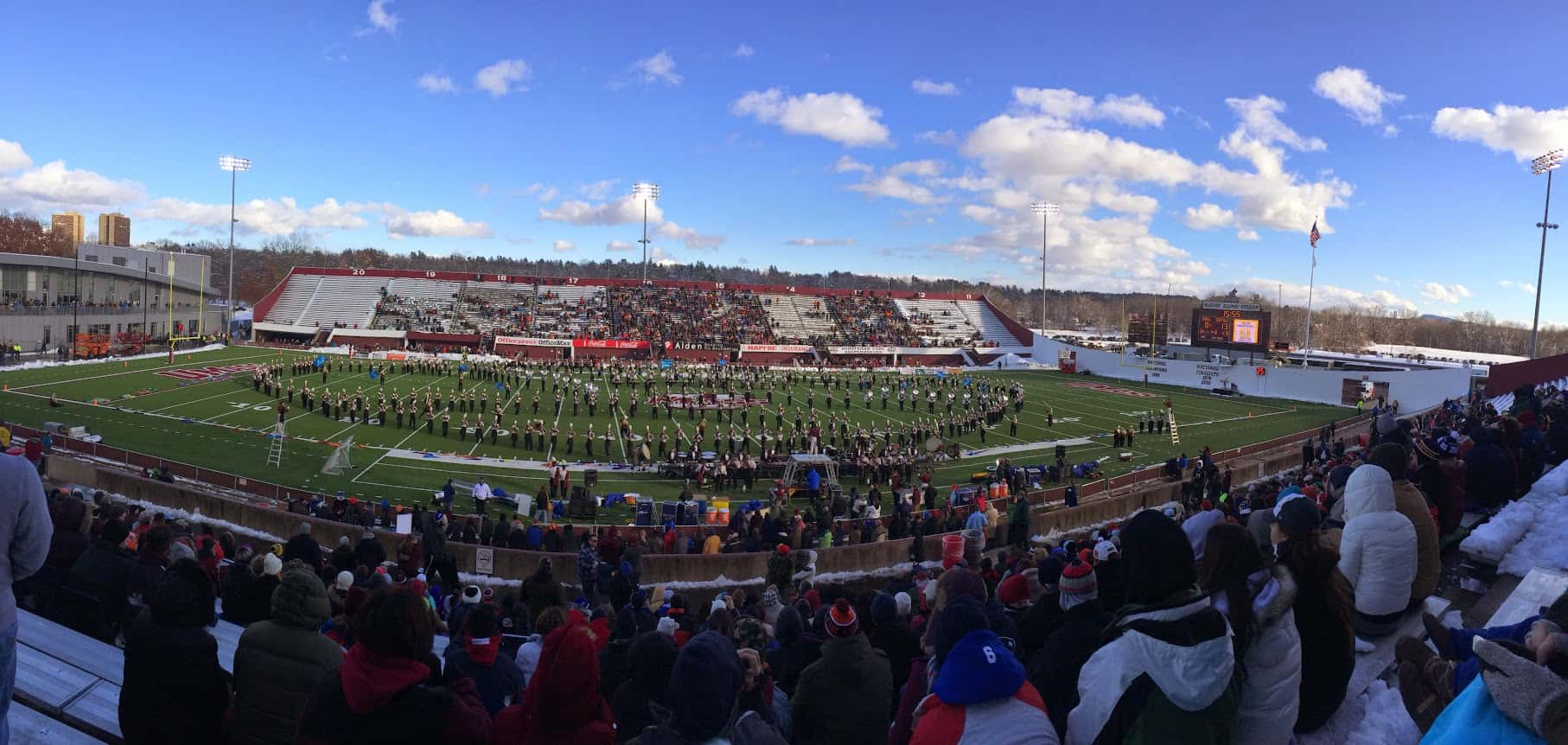 The highlight of a home football game at McGwirk Stadium at UMass is the band.