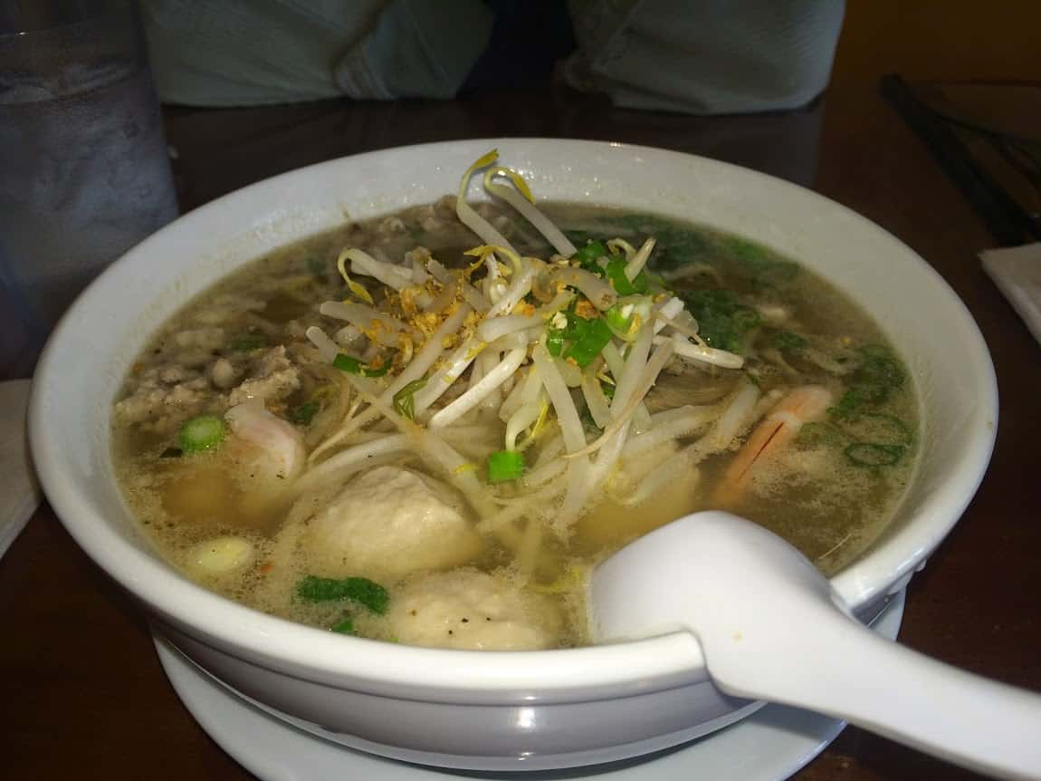 A steaming bowl of pho, noodle soup, at Miss Saigon, downtown Amherst.