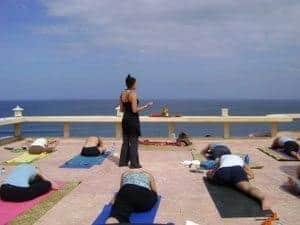 Yoga session at Blue Point Bay Villas in Uluwatu, Bukit