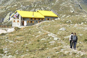 Approaching the Hut Pontese at about 3000 meters up in the Italian Alps.