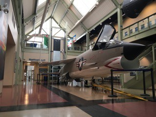 A jet airplane inside the Discovery Center.