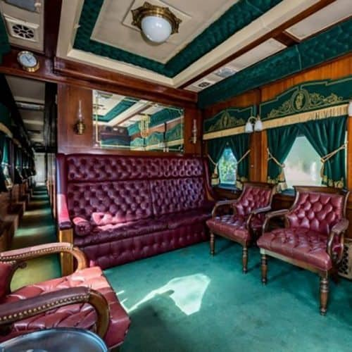 A luxurious lounge car in America's Trains private car fleet.