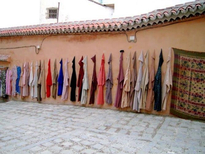 Djellabahs for sale in Chefchaouen, Morocco